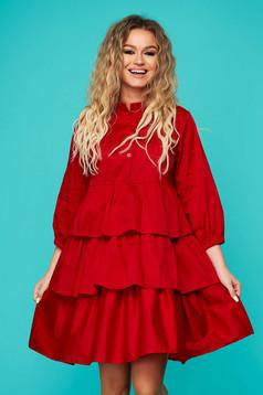 Piros hétköznapi fodros rövid bő szabású ruha rugalmatlan pamutból