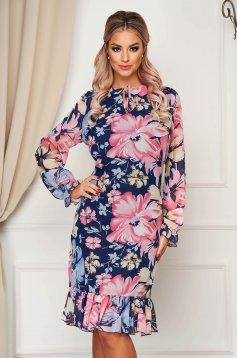 Pink StarShinerS elegáns ruha egyenes szabással fodrokkal a ruha alján
