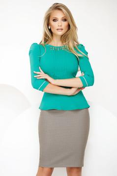 Zöld irodai női ing enyhén elasztikus pamut fémes kiegészítővel derekán fodros