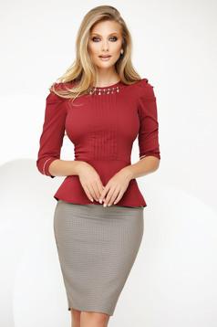Burgundy irodai női ing enyhén elasztikus pamut fémes kiegészítővel derekán fodros