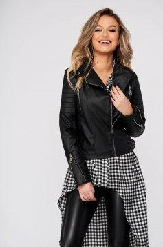 Fekete casual rövid dzseki hosszú ujjakkal műbőrből béléssel