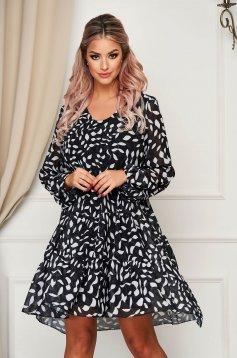 Fekete hétköznapi bő szabású ruha v-dekoltázzsal muszlinból vékony béléssel