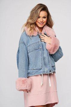 Pink casual dzseki farmerből bundabélessel ellátva szőrme gallér