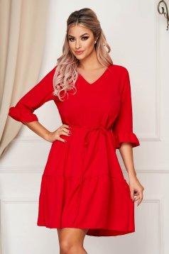 Piros StarShinerS hétköznapi bő szabású ruha v-dekoltázzsal