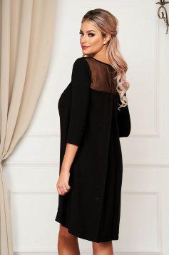 Fekete StarShinerS elegáns bő szabású ruha 3/4-es ujjakkal rugalmatlan szövetből
