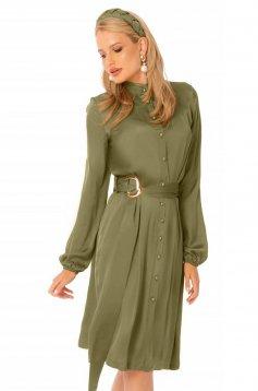 Irodai khaki zöld midi harang ruha hosszú ujjakkal