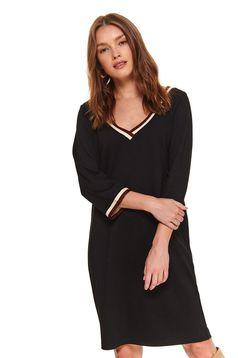 Fekete casual bő szabású ruha 3/4-es ujjakkal v-dekoltázzsal
