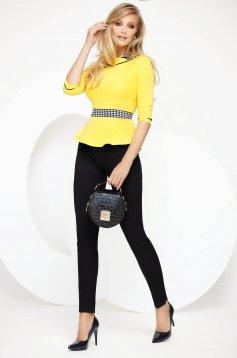 Sárga irodai szűk szabású női ing enyhén elasztikus pamut derekán fodros