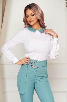 Mentazöld irodai szűk szabású női ing hosszú ujjakkal enyhén elasztikus pamut