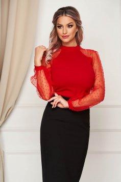 Piros StarShinerS szűk szabású női blúz bő ujjú