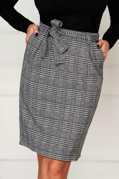 Fekete casual rövid kockás ceruza szoknya zsebekkel