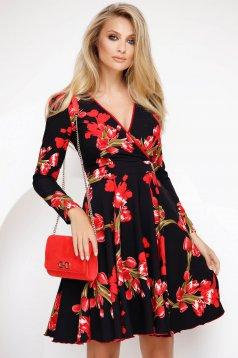 Piros vékony anyag hétköznapi rövid harang ruha