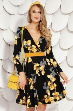 Sárga vékony anyagú hétköznapi rövid harang ruha