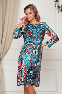 Türkizzöld StarShinerS ruha midi hétköznapi egyenes vékony anyagból