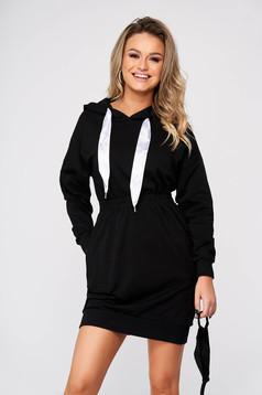 Fekete casual rövid pamutból készült ceruza ruha zsebekkel