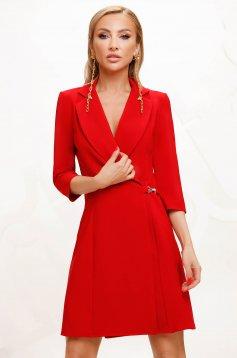 Piros elegáns rövid átlapolt a-vonalú ruha vékony szövetből