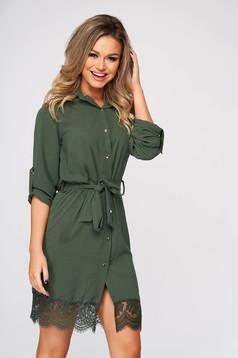 Zöld rövid egyenes hétköznapi ruha csipke díszítéssel vékony anyag