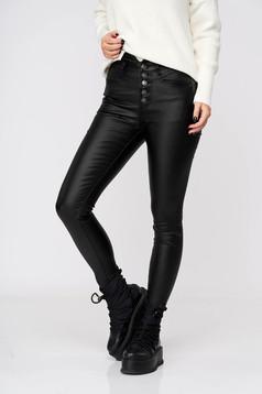 Fekete casual nadrág műbőrből magas derekú