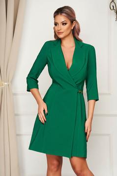 Zöld elegáns rövid átlapolt a-vonalú ruha vékony szövetből