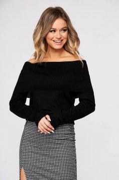 Fekete casual szűk szabású kötött pulóver