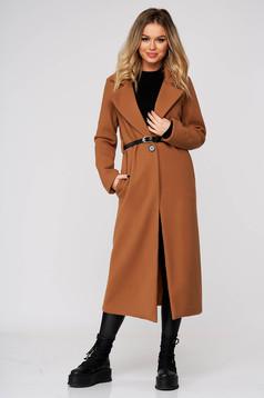 Barna casual hosszú egyenes kabát szövetből zsebekkel öv típusú kiegészítővel