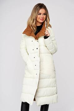 Fehér casual kifordítható midi dzseki vízlepergető steppelt anyag