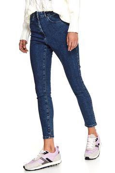 Kék casual skinny nadrág farmerből strasszos kiegészítővel ellátva