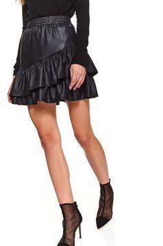 Fekete rövid party fodros harang szoknya műbőrből