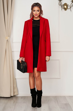 Piros irodai egyenes kabát szövetből zsebekkel