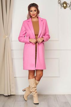 Pink irodai egyenes kabát szövetből zsebekkel