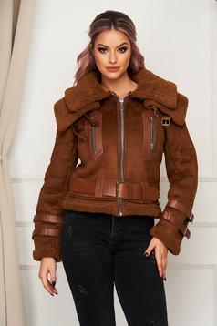 Barna casual dzseki szintetikus fordított bőr felsőrész bundabélessel ellátva