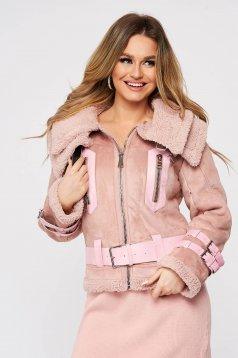 Pink casual dzseki szintetikus fordított bőr felsőrész bundabélessel ellátva