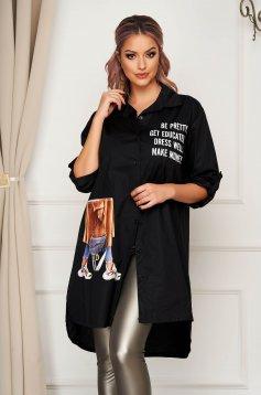 Fekete casual aszimetrikus bő szabású női ing rugalmatlan pamutból