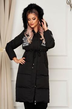 Fekete casual midi dzseki derékban zsinóroral vízlepergető anyagból