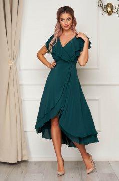 Zöld StarShinerS hosszú alkalmi ruha muszlinból fodros