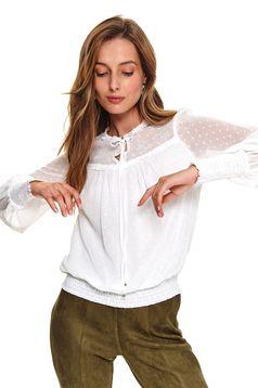 Fehér casual bő szabású női blúz vékony anyag