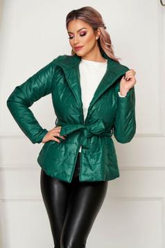 Zöld casual rövid vízlepergető dzseki magas gallér zsebekkel