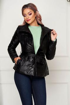 Fekete casual rövid vízlepergető dzseki magas gallérral zsebekkel