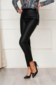 StarShinerS fekete casual szűk szabású magas derekú nadrág műbőrből