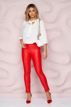 StarShinerS piros műbőr casual szűk szabású magas derekú oldalt cipzárral zárható nadrág