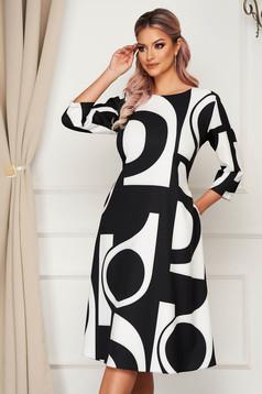 Fekete midi hétköznapi bő szabású ruha zsebekkel enyhén elasztikus pamutból