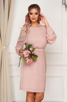 Púder rózsaszínű StarShinerS midi ruha elegáns muszlinból csillogó díszítések bő ujjú