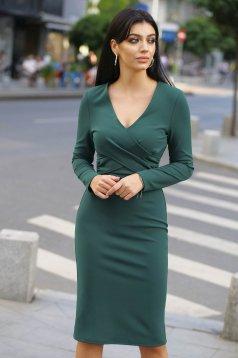 Zöld elegáns szűk szabású ruha v-dekoltázzsal