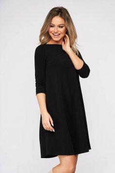 Fekete bő szabású rövid StarShinerS ruha rugalmas anyagból