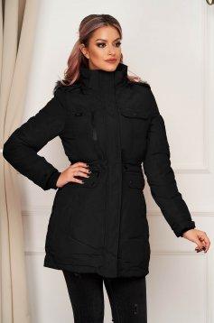 Fekete casual vízlepergető dzseki béléssel egyenes szabású