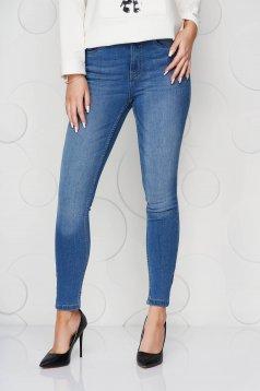 Kék casual skinny farmer enyhén elasztikus pamut középmagas derekú