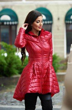 Piros asszimmetrikus casual dzseki vízlepergető anyagból béléssel
