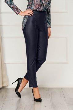 StarShinerS sötétkék casual szűk szabású magas derekú nadrág műbőrből