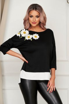 Fekete StarShinerS casual bő szabású női blúz virágos hímzéssel