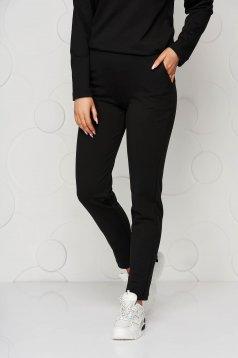 Fekete StarShinerS gumírozott derekú zsebes szűk szabású casual jersey nadrág